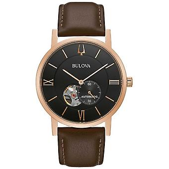 Bulova American Clipper | Automatic | Black Dial | Brown Leather 97A155 Watch