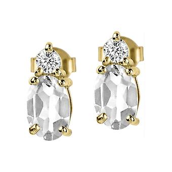 Jacques Lemans - Studs sterling silver plated with White Topaz - SE-O113F
