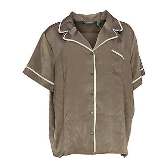 Anybody Women's Pajama Top Piped Satin Light Brown A353764