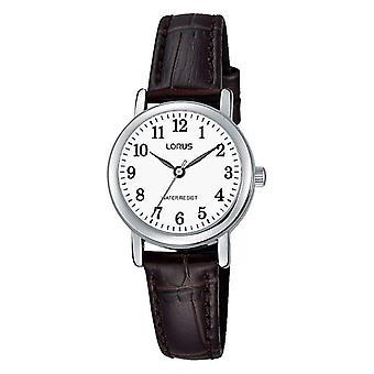 Lorus RRS11WX-9 Silver Tone With Brown Strap Wristwatch