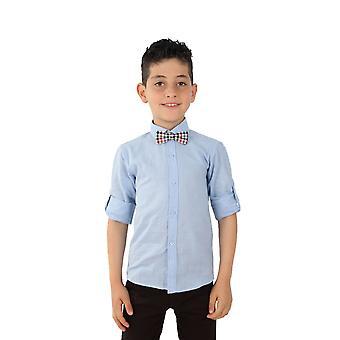 Boys Linen Sky Blue Roll Up Sleeve Shirt