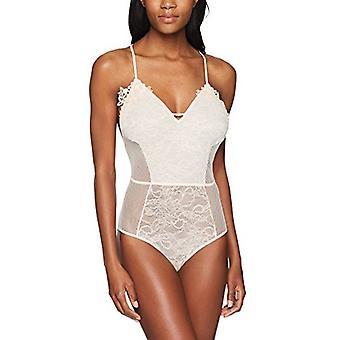 Brand - Mae Women's T-Back Lace And Mesh Bodysuit, Crème De Peche, Me...
