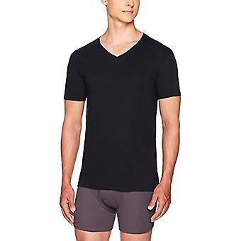 Essentials Men's 6-Pack V-Neck Undershirts, black, Small
