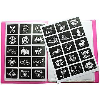 Herbruikbare sticker tattoo stencils met map, schilderij sjabloon - Album opgelost