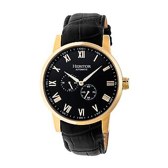 Heritor Rômulo automático couro-Band Watch - preto/ouro