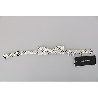 Dolce & Gabbana Miehet Valkoinen Pisteviiva Silkki Säädettävä kaula Papillon Rusetti -- FT20039600