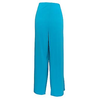 Bob Mackie Women's Pants Wide Leg Regular Length Knit Pants Blue A13015
