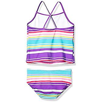 Brand - Spotted Zebra Girls' Tankini Swimsuit, Purple Multi Stripe, Me...