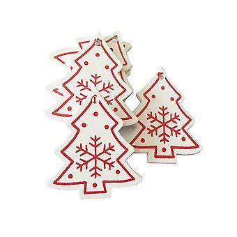 50PCS Xmas Pendentifs en bois Arbre de Noël BRICOLAGE Décor Blanc