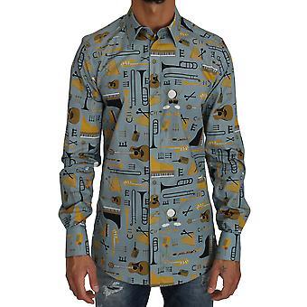 Dolce & Gabbana Blue Yellow Slim Fit Gold Jazz Casual Shirt TSH2571-2