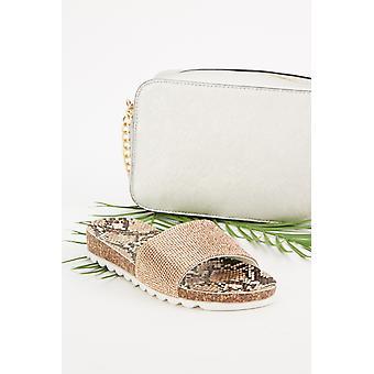 Sandales à imprimé serpent