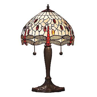 2 lichte kleine tafellamp donker brons, beige, Tiffany Stijl Glas, E27