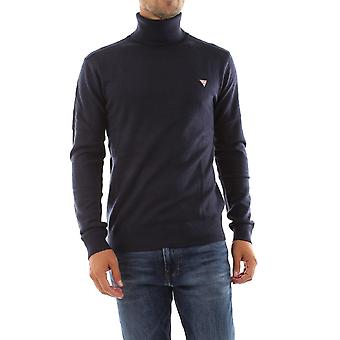 Guess Turtle Neck Wool Blend Sweater - Navy Blue