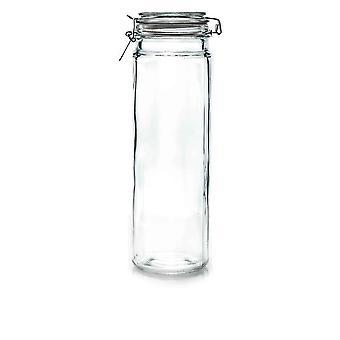 Argon Geschirr Glas Spaghetti Jar mit luftdichten Clip Deckel - 2 Liter - weißes Siegel