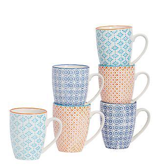 Nicola Spring 6 db kézzel nyomott tea és kávésbögre szett - japán stílusú porcelán latte bögrék - 3 szín - 360ml