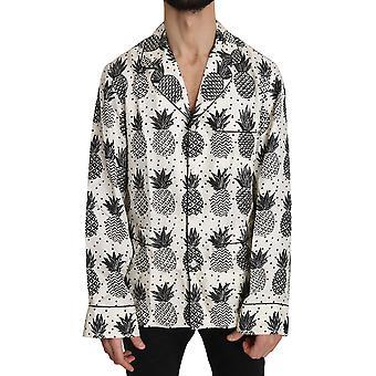 دولتشي آند غابانا أبيض الأناناس الحرير أعلى قميص - TSH3353968