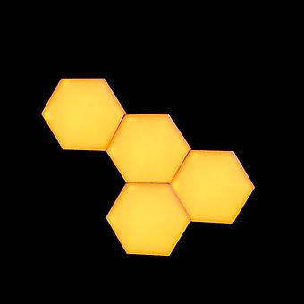 Yellow  Led Honeycomb Quantum Hexagon Wall Lamp With Touch Sensitive - Decorative Night Light