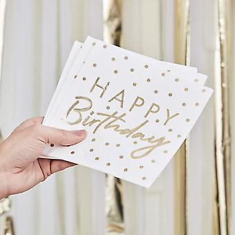 Gold Foiled Happy Birthday Paper Party Napkins x 16