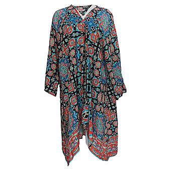 Tolani Women's Plus Top Regular 3/4 Sleeve Printed Duster Blue A353081