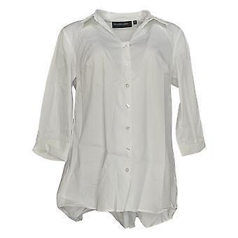 Colleen Lopez Women's Top Bow Back Button-Down Blouse White 701-963