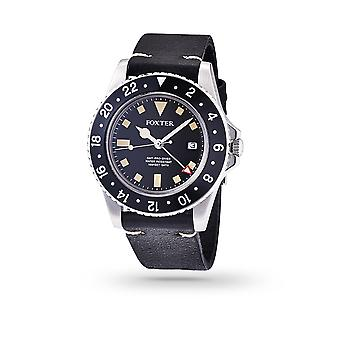 Foxter Sixties men's watch black leather strap, steel case and black background - SIXTIES2