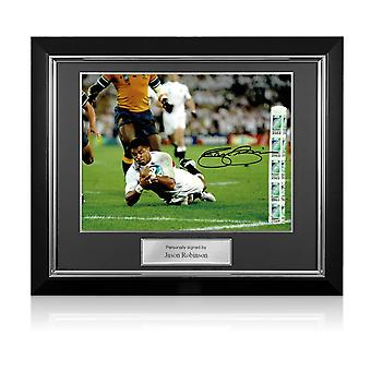 Jason Robinson ondertekend Engeland Rugby Foto: World Cup Final Try. Luxe frame