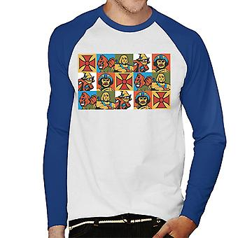 Masters Of The Universe He Man Mirrored Montage Men's Baseball Long Sleeved T-Shirt