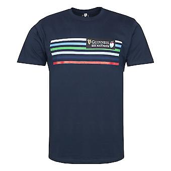 Guinness 6 Nations Rugby Mens Striped T-Shirt | Navy | 2021