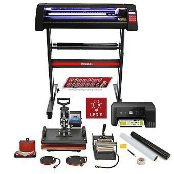 Vinyl Cutter LED Light 5 in 1 Heat Press Printer Starter Kit Sublimation Bundle