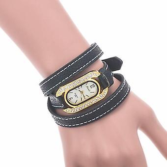 Fashion women Oval Rhinestone Dial Leather Long Band Quartz Watch
