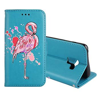For Galaxy A8 (2018) Flamingo Print Horizontal Flip Leather Case with Holder & Wallet & Card Slots & Photo Frame(Blue)
