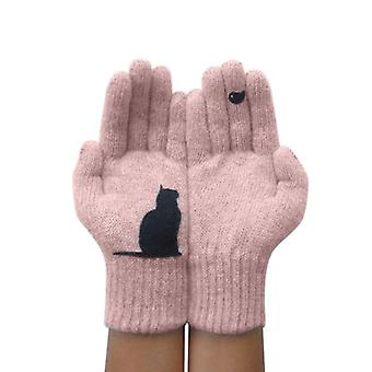 Winter Warm Cold Cashmere Gloves Thick Cartoon Cat Print Wool Knitted Full