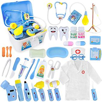 Doctor kit, 35 pack kids dentist surgeon vet medical kit with light and sound including electronic s