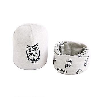 Plush Hat Scarf Set, Owl Print, Neck Collar, Cotton