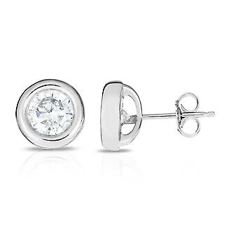Sterling zilveren ronde Cubic Zirconia Stud Earrings Stud Earrings