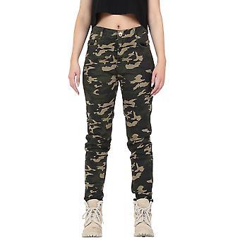 High Waist Camouflage Trousers Slim & Short Leg - Dark Green