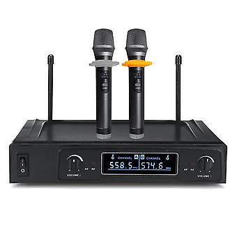 100db 500-599Mhz UHF Dual Channels Wireless Microphone Karaoke UHF Mic System