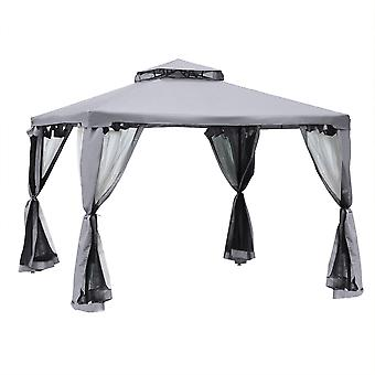 Outsunny 3 x 3 Meter Metal Gazebo Garden Outdoor 2-tier Roof Marquee Party Tent Canopy Pavillion Patio Shelter with Netting - Crey