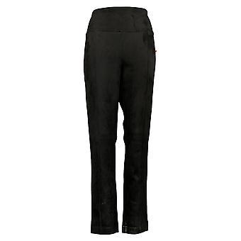 Andrew Marc Women's Pants Faux Suede Pleated Slim Leg Black