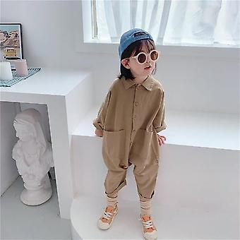 Children Overalls, Spring Autumn/girls Plus Velvet Jumpsuit