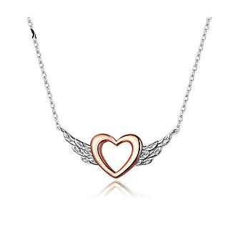 Heart wing silver rose gold pendant necklace