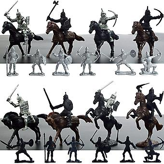 28pcs Plastic Medieval Knights Horses Soldier Military Action Figure