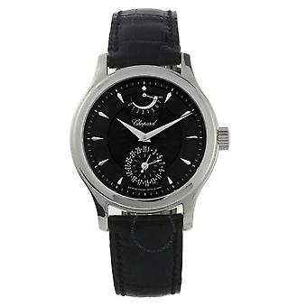 Chopard LUC Quattro Black Dial 18kt White Gold Black Leather Men's Watch 161863-1001
