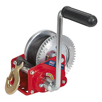 Sealey Gww1200B Geared Hand Winch With Brake And Webbing 540Kg Capacity