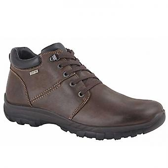 IMAC Mitch Mens Leather Lace Up Boots Dark Brown