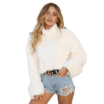 Thick Lambswool Winter Women Jacket Faux Fur Wool Coats Back Zippers