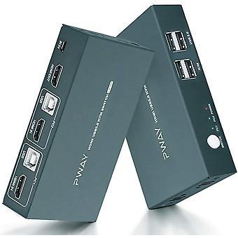 FengChun HDMI KVM Switch USB 2 Port Umschalter 4K, 4K@30Hz,USB2.0, 2 PC 1 Monitor,2 In 1 Out, Hotkey