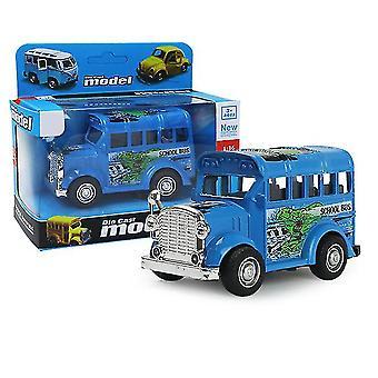 حافلة مدرسية مصغرة زرقاء سحب السيارة انزلاق سبيكة، نموذج سيارة محاكاة مع يمكن فتح الباب az9098