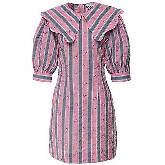GANNI Cotton Seersucker Collar Mini Dress