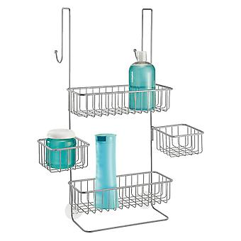 mDesign Shower Tray for Hanging Over the Shower Door - Shower Organiser without Drilling - Silver